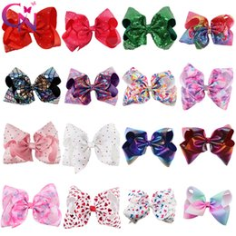 Wholesale Wholesale Clips - 8 Inch Rhinestone Hair Bow Jojo Bows With Clip For School Baby Children Large Sequin Bow Unicorn Bow Mermaid 10 Style For valentines