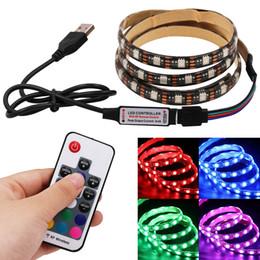 luces de tira llevadas que empaquetan Rebajas 5050 RGB LED Tira impermeable 5V USB LED Tiras de luces Cinta flexible Remoto 50 CM 1M 1.5M 2M 3M 4M 5M para HDTV