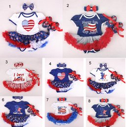 Wholesale usa headbands - 4th of July USA Independence Day Baby Girl Romper Sets star stripe national flag print romper + headband+ shoes baby clothing Romper