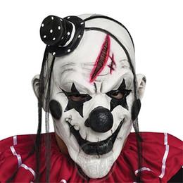 Máscara de palhaço mau on-line-Cosplay de Luxo Horrível Assustador Máscara de Palhaço Adulto Homens Cabelo De Látex Branco Halloween Palhaço Mal Assassino Demônio Palhaço Máscara trajes