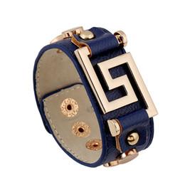 pulseiras de cobre de couro Desconto Boho Gypsy Hiphop Hippie Do Punk Preto Azul Marinho De Couro Pave Cobre Rebite Knots Charme Botões Unisex Ampla Grande Pulseiras Pulseira