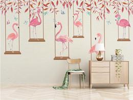 Fundos 3d on-line-Papel de parede da foto de alta qualidade efeito 3d dos desenhos animados kids room mural da parede rosa flamingo quarto sala de estar papel de parede de fundo