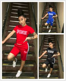 Wholesale Cycling Shorts Sizing - Outfits Women Slim Pink Style Clothing Pullover Printing Red Blue Black VS Jogger Set Suits Casual PLUS SIZE Elastic Suits S-3XL