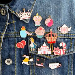 14 TEILE / SATZ Alin Wunderland Emaille pin set Brosche set Katze tasse AlCrown topf Palace Alin Wunderland schmuck von Fabrikanten
