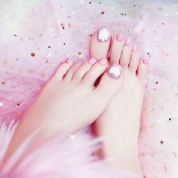 pegatinas de corazón rosa Rebajas 24 pcs Pink Kawaii Fake Toe Nail Tips Decor Con Glitter Heart Flower Toe Uñas Falsas Con Pegatinas Pegatinas Acrílico Faux Ongles