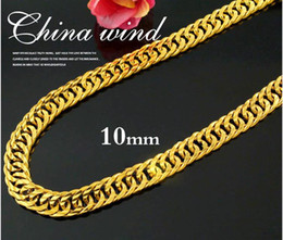 Wholesale Gold 18k 24k Chain - hot 24K Real YELLOW GOLD FINISH SOLID HEAVY 11MM XL MIAMI CUBAN CURN LINK NECKLACE CHAIN Best Packaged Free shipping Unconditional Lifetime