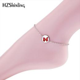 Bijoux cheville rouge en Ligne-2018 nouveau rouge papillon bracelet bracelet art peintures bracelets cheville pieds en verre argent main artisanat bijoux plage d'été