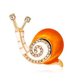 Wholesale wedding hats for men - Crystal Enamel Snails Brooches For Women And Men Fashion Colorful Rhinestone Hat Clip Jewelry Brooch Pins 370002