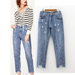Wholesale Beading Jeans - 2018 New Fashion Hole Beading Burr Jeans Embroidered Flares Washed Denim Jeans Ripped Bleached Pencil Pants Hem Retro Women Trousers