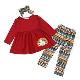2019 платья с длинным рукавом для малышей Дети девушки одежда для Дня Благодарения малыша новорожденных девочек наряды Детская одежда с длинным рукавом футболки топы Dress брюки оголовье 3 шт. Набор дешево платья с длинным рукавом для малышей