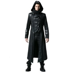 Wholesale Gothic Winter Jacket - Gothic Black Winter Men's Long Coat Steampunk Twill High Collar Jackets Punk Leather Coats Overcoats with Detachable Hem and Hat