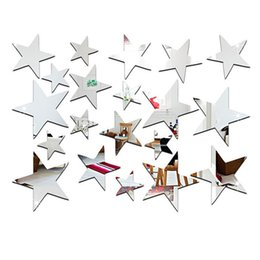Wholesale Cheap Decorative Paper - 20pcs set Sliver 3D Acrylic Wall Stickers Cheap Decorative Mirror Surface Wall Decal Star Shape Art Paper Home Office Decor