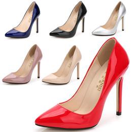 Tacón alto de plata online-bombas de la manera mujeres del estilete del tacón alto de charol resbalón en los zapatos de la señora vestido de la boda del partido plata rojo más el tamaño
