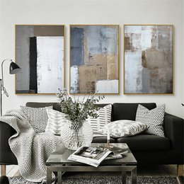 Wholesale Triptych Abstract Paintings - HAOCHU Triptych Nordic White Black Grey Square Picture Modern Poster Hand Painted Canvas Painting Wall Art for Living Room Decor