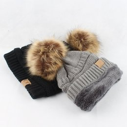 Wholesale ladies velvet flats - Europe and the United States Style New Flat Wool Hair Ball Ladies Knitted Wool Hat Plus Velvet Curling Cap Leisure