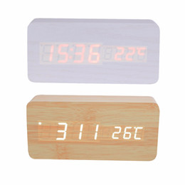 Wholesale Mechanical Digital Clock - Wholesale-LED Light Alarm Clock with Temperature and Time & Voice Control Desk Digital 2017 Bamboo & Wooden Alarm Clock Wood Square shape