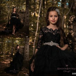 Wholesale kids dress belts - Black Princess A Line Tulle Girls Pageant Dresses 2018 Half Long Sleeves Lace Top with Crystals Belt Formal Kids Wear Cheap BA7604