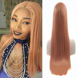 Bombshell 180% Heavy Density Rose Gold Pink Straight peluca sintética frente del cordón Glueless fibra resistente al calor Natural Hairline para mujeres negras desde fabricantes