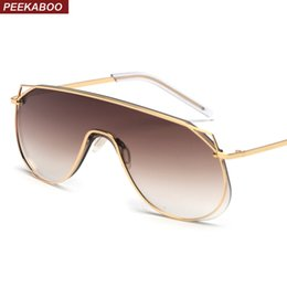 ea48d20a726 Peekaboo mirror one piece sunglasses women clear lens 2019 metal frame high  fashion sun glasses for men windproof uv400