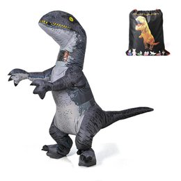 Jurassic World Adulto Velociraptor Costume Gonfiabile T REX Raptor Costume Dinosauro Party Halloween Costume party Giocattoli per Le Donne Uomini WSJ-22 cheap dinosaur costume for men da costume dinosauro per gli uomini fornitori