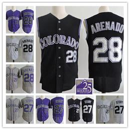 Wholesale Vest Army - Mens Nolan Arenado Black Vest Jerseys Stitched white 27 Trevor Story Flex base baseball Jersey S-3XL