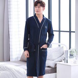 9059ef59e6 2018 Autumn Winter 100% Cotton Robe for Men Long Sleeve Bathrobe Male  Comfortable Casual Sleepwear Lounge Homewear Home Clothing