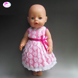 Wholesale Reborn Doll Dresses - Rose flowers dress Fit For 43cm Baby Born Zapf Doll Reborn Babies Clothes And 18inch Doll Accessories