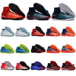 Wholesale Icing Shoes - 2018 mens soccer cleats mercurial superfly V TF IC Fire Ice football boots cr7 cleats indoor soccer shoes MERICURIALX PROXIMO II Cheap Turf