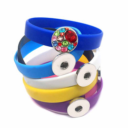 Wholesale Clasp Types - Whoelsale fashion High Quality Newest type Silicone bracelet Snap button Bracelets Most Popular Fit 18mm 20mm snap button