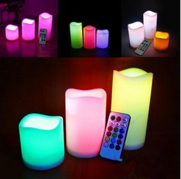 """Wholesale Color Changing Led Christmas Candles - Flameless Candles Electronic LED Candles with 18-key Remote control color changed 4"""" 5"""" 6"""" Pillar Flameless Candles KKA3634"""