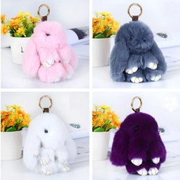 Wholesale Wholesale Plush Toys Keychains - Colorful Bunny Rabbit Key Ring Soft For Women Pluff Fluffy Toy Keychains Birthday Party Gift Keys Buckle Hot Sale 7 99zb B