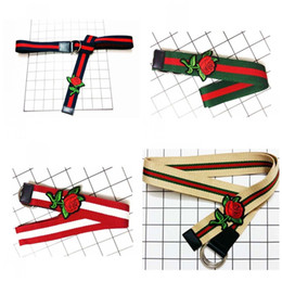 Wholesale Canvas Belt Double - Fashion Embroidery Rose Canvas Waistband Double Ring Buckle Women Belt Stripe Design Preppy Chic Waist Belts 5 8hj Z