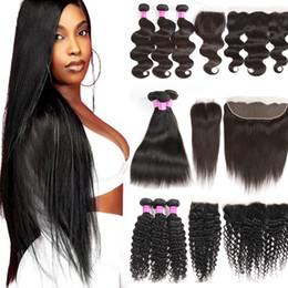 Canada Cheveux humains vierges brésiliens 3 faisceaux non traités avec de l'eau frontale Profond Kinky Curly Droite Extension de cheveux Remy et de la fermeture cheap hairs extensions Offre