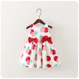 Arcos ropa de boutique online-NUEVO vestido de las niñas sin mangas de los lunares de impresión arco diseño boutique vestido causal verano ropa de la muchacha dresskids alta calidad