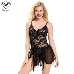Sexy Women Black Lace Dress Pajamas Bow Sling Feminine Hollow Lingerie with  G-string Baby dolls Charming Slimming Underwear 9ac0e2b46