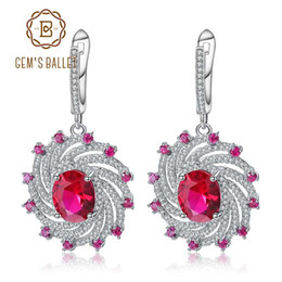 Новые серьги драгоценного камня онлайн-GEM'S BALLET New 925 Sterling Silver  Drop Earrings Natural Ruby Spiral Shape Earrings Fine Jewelry For Women Wedding