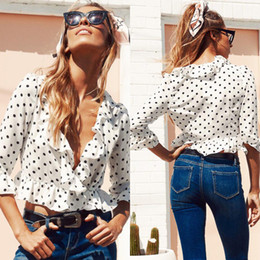 Wholesale women blouse squares - Fashion Casual Women Ladies Chiffon Polka Dot Blouses Shirts Half Sleeve Short Clothes White Black Tops