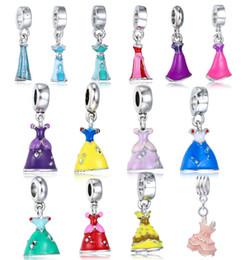 Wholesale Dangling Chain - Princess Enamel Dress Pendant Silver Plated Girl's Skirt Alloy Charm Beads Dangle European Jewelry Chain Bracelet Free Shipping D668S