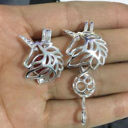 Braccialetto d'argento della pietra preziosa online-Ciondolo ciondolo a gabbia medaglione in argento sterling 925 unicorno, pendente a forma di perlina di perle in pietra preziosa con perle