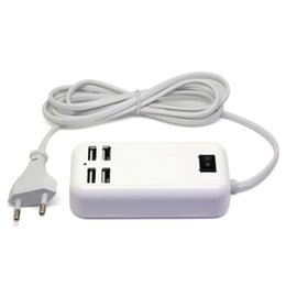 Wholesale Usb 3a - 15W 4 Ports Desktop USB Charger 5V 3A Cable Desktop Charger For iphone X 8 8P 7 7P 6S 6SP Smart Phone