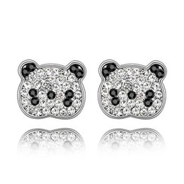 Wholesale czech earrings - New Women Crystal Cute Panda Earrings Made With Czech Crystals For Ladies Girls Gift Free Shipping