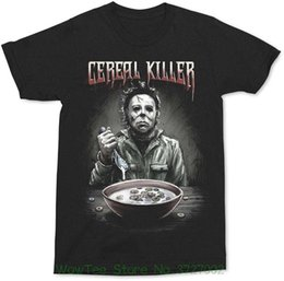 Cambiamenti Halloween Michael Myers Halloween Cereal Killer Black Shirt Moda uomo Cotone nero da