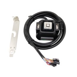 Wholesale computer button switch - PC Desktop Computer Power ON OFF Reset Switch Button Starter double USB Audio Microphone Po0rt Cable Rear Bracket 1.2m