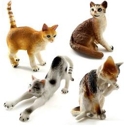 Pequenos brinquedos de fazenda on-line-Simulação fazenda Gatos mini animais modelos de brinquedo de plástico de pequeno animal figuras de decoração para casa Presente Para Crianças bonecas estatueta Decoração Do Bolo