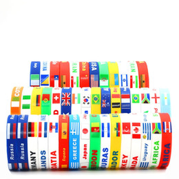 Wholesale wholesale soccer flags - World Cup Football Soccer Team Wristband Silicone Wristlet Bracelet With National Flag Design advertising promotional gifts souvenirs