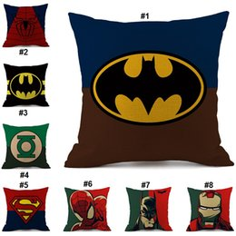 Wholesale Batman Pillow Cases - Superheroes Iron Man Superman Captain America Batman Pillow Cases Cushion Cover Linen Cotton Pillowcase Gift 19 Style