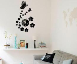 Schwarze mauer schmetterlinge online-Hot 50 stücke Diy spiegel wanduhr Acryl 3d aufkleber europa dekor Wohnzimmer geschenk wohnmöbel schmetterling aufkleber
