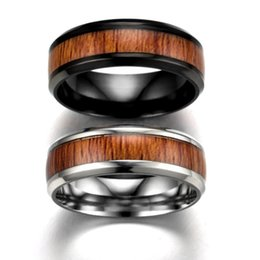 Wholesale Wood Inlay Rings - whole sale8mm Vintage Wood Inlay Stainless Ring Men Engagement Rings For Women Wedding Band Fashion Jewelry