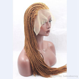 Wholesale Hot Sexy Blondes - Hot Sexy Braids 30# Blonde Braided Wigs with Baby Hair Cheap Braiding hair Heat Resistant Glueless Synthetic Lace Front Wigs for Black Women