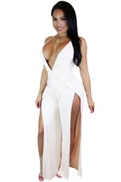 Wholesale Jumpsuit Slits - Wholesale- 2016 New Summer Women's Sexy Black Burgundy Blue White Twist Abdomen Backless Thigh High Slit Party Jumpsuit LGY64085